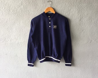 6405945550b Vintage 80s/90s Adidas Trefoil Small Logo Printed Sweatshirt Quarter Snap  Button Adidas Pullover Jumper Adidas Blue Colour Size M