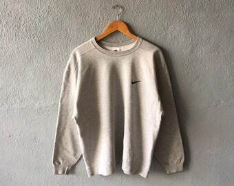 a2ac38de8 Vintage 90s Nike Small Logo Embroidery Sweatshirt Crewneck Nike Pullover  Grey Colour L Size