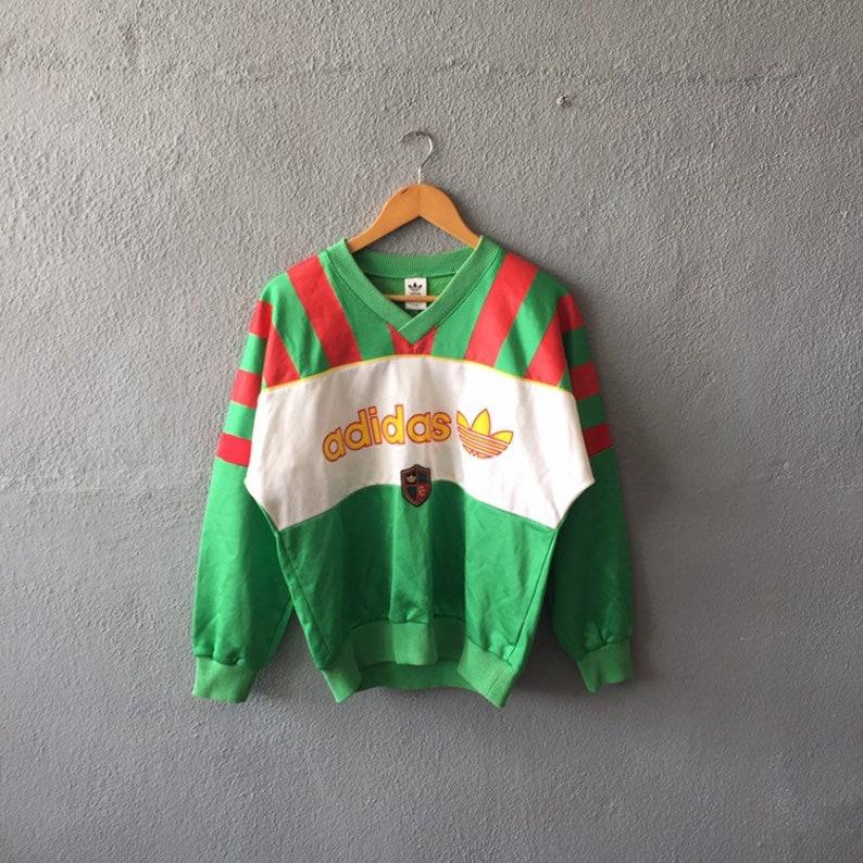 63b7e71c80e Vintage 90s Adidas Trefoil Spellout Sweatshirt Vneck Adidas Fc | Etsy