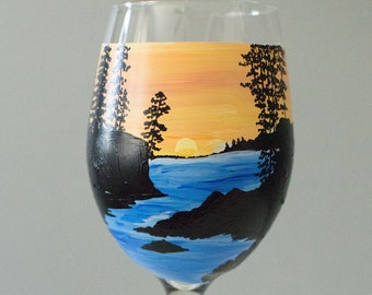 Watercolor sunset alcohol ink stemless wine glasses