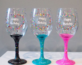 Hand Painted Birthday Wine Glass 21st Gifts For Her Women Personalized Glasses