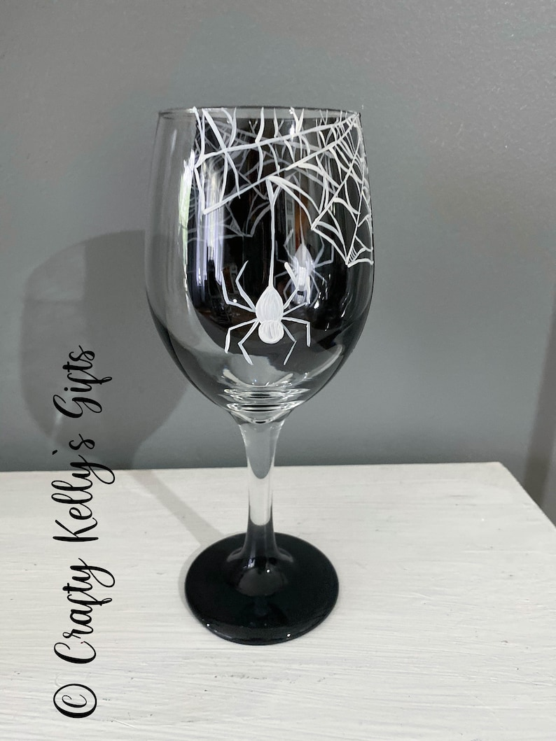 Hand Painted Spider Web 3D wine Glass Halloween Wine Glass image 4