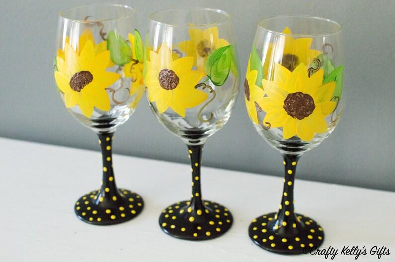 Sunflower Wine Glass Hand Painted Wine Glass Birthday Gift Etsy