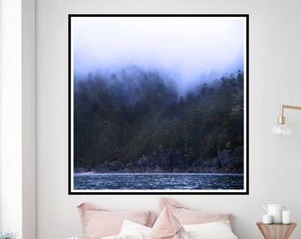 Fog in the Whitsundays, Misty Mountains, Blue Mountains, Blue Water, Large Wall Art, Fine Art Photography, Foggy Mountains, Decor Wall Art