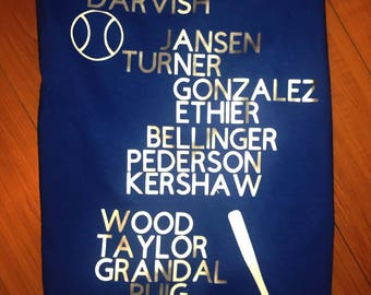 Dodgers Roster acrostic Tee