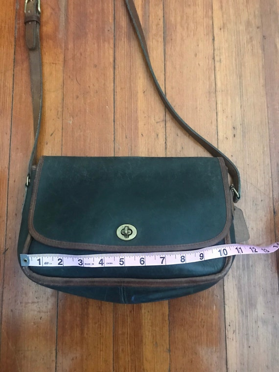 Vintage Coach Glove Tanned leather Green and Saddl