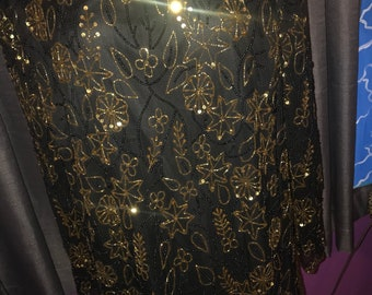 Black and Gold Beaded Sequin Vintage blouse size 2XL