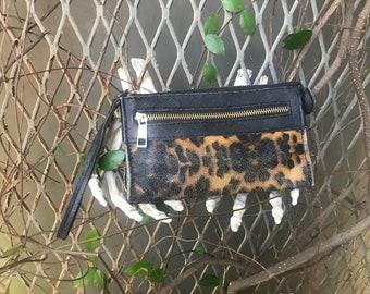 Leopard print Wrist Wallet Faux Leather