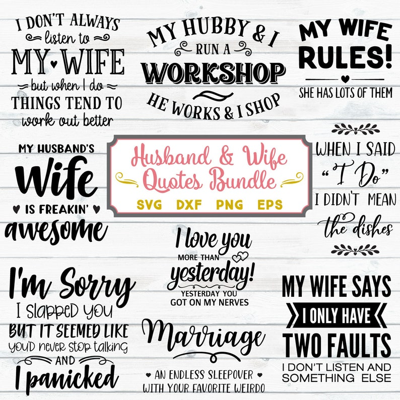Husband And Wife Svg Bundle Marriage Sayings Svg Svg