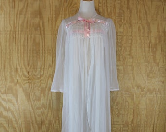 Vintage 1980 s LAUREN ROGERS Lingerie White   Pink Ribbon Peignoir Chiffon  Robe Negligee Nightgown Night Gown Medium M 32e141126