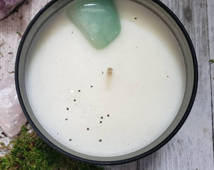 Green Aventurine, Soothing Energy Scented Soy Candle, 8 oz , Crystal Energy, Home Decor Candle, Eco and Vegan