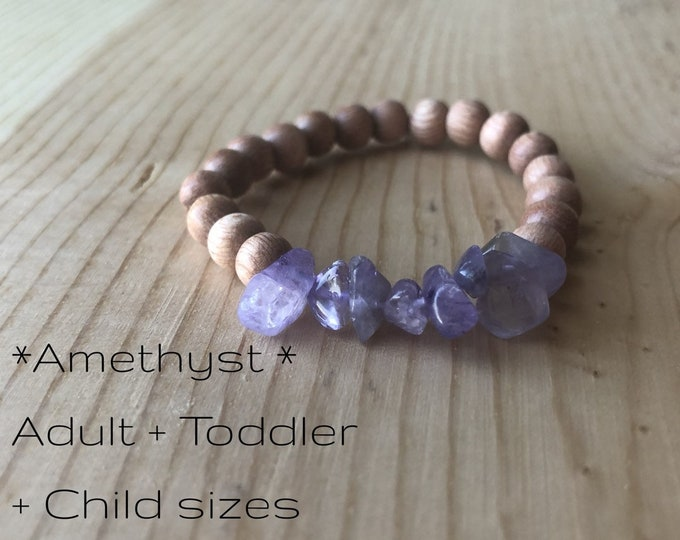 Petite Amethyst + Rosewood Bracelet | Toddler + Child Gemstone Bracelet