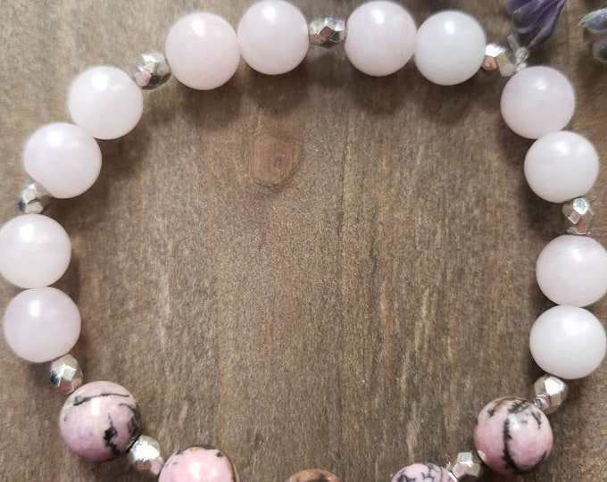 Love and Healing | Rhodonite and Rose Quartz  Gemstone Bracelet