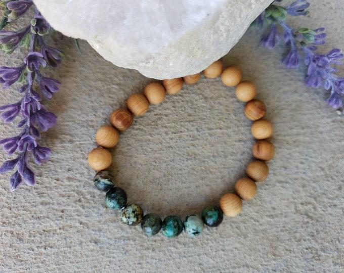 African Turquoise & Cedar Bracelet | Transformation and Positivity | Unisex Bracelet