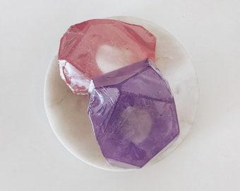 Crystal  Soap / Amethyst + Rose Quartz Bar of Soap / Rose + Lavender
