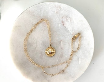 EVIL EYE protection charm necklace, 14k gold, 17 inch gold necklace