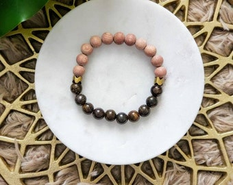Bronzite + Rose Wood Bracelet- Harmony, Protection, Grounding, Action