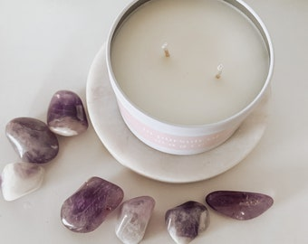 Crystal Candle / Hidden Crystal in Candle / Amethyst or Rose Quartz / In Pursuit of Magic / 8 oz / White Tin
