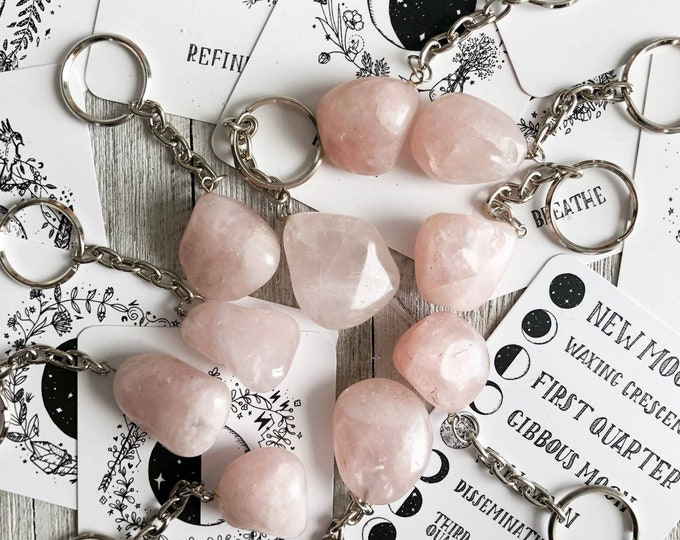 Rose Quartz Keychain, Crystal Keychain, Travel Crystal