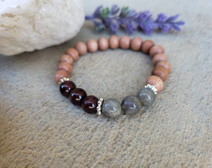 Vitalility and Spirituality | Garnet - Labradorite Gemstone Bracelet