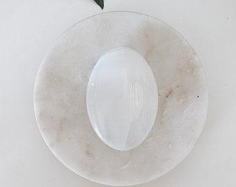 Selenite Palm Stone / Smooth Polished Selenite / Worry Stone / Pocket Stone / Healing Crystals / Selenite Crystal Stone