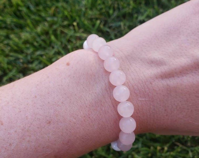 Rose Quartz + Rose Wood Oil Diffuser Bracelet, Promotes Love and Opening the Heart, Friendship