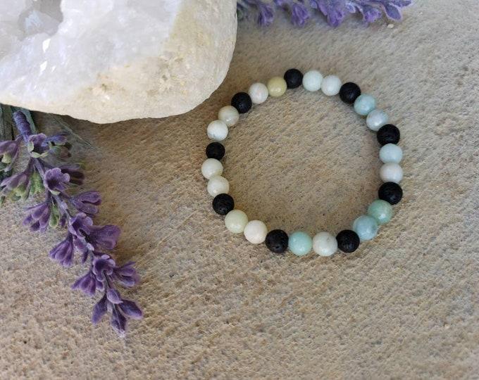 Calm and Balancing | Amazonite Diffuser Bracelet | Gemstone Bracelet | Heart Chakra | Unisex