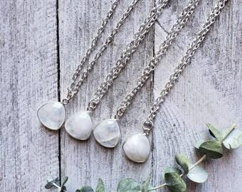 Dainty Moonstone Gemstone Necklace, Crystal Necklace, Calming.