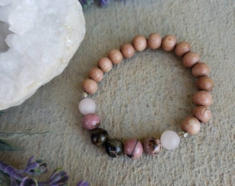 Love and Healing | Rhodonite + Rose Quartz Healing Bracelet | Gemstone Bracelet