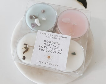 Crystal Intention Tea Lights / BEST SELLERS, Goddess, Protection, Healing, Love Letter / Ritual, Spell