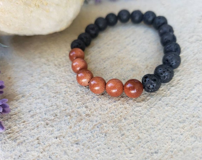 Ambition and Vitalility | Goldstone and Lava Bead Diffuser Bracelet- Natural Gemstones