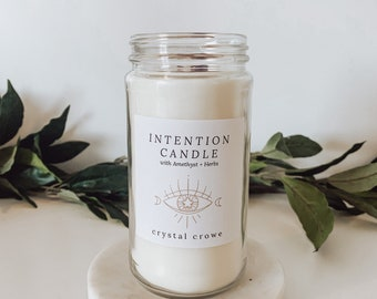 10 oz Intention Candle with Amethyst, Rosemary and Rose Petals, Candle for Manifestation, Meditation, Intention Setting