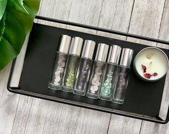 Essential Oil Crystal Rollers// Add your own oils! 10ml Roller Bottle