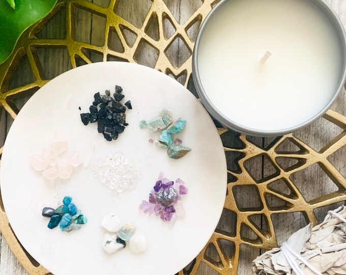 CREATE YOUR VIBE // Create your own intention candle // Choose your own crystals// 4 oz Soy Candle
