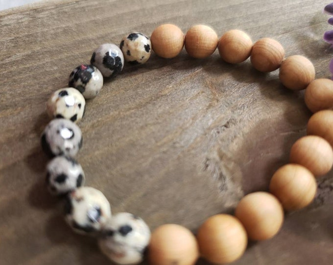 Positivity Bracelet, Dalmation Jasper Gemstone, Unisex, Child Bracelet