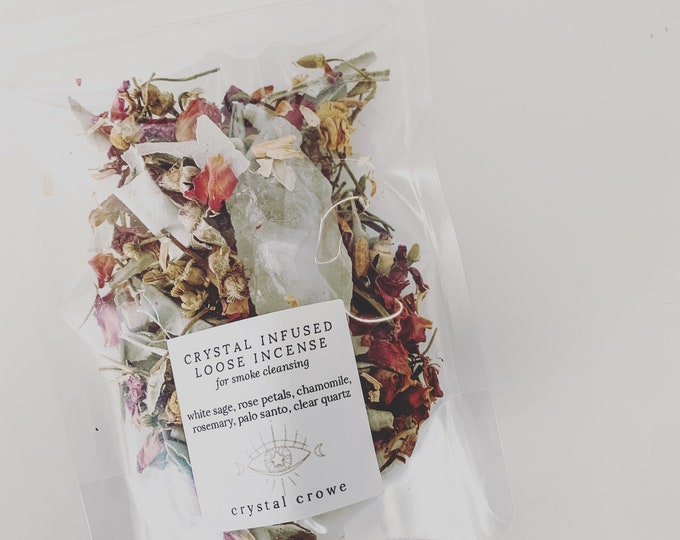 Featured listing image: Loose Incense Blend for Smoke Cleansing, Energy Clearing, Remove Negative Energy, Bring in Positivity, Infused with Clear Quartz