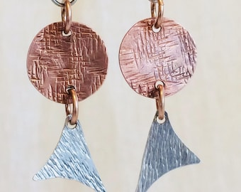 Mixed Metals earrings of copper and silver that are light weight!