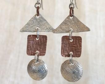 Fairytale playful geometric mixed metals earrings