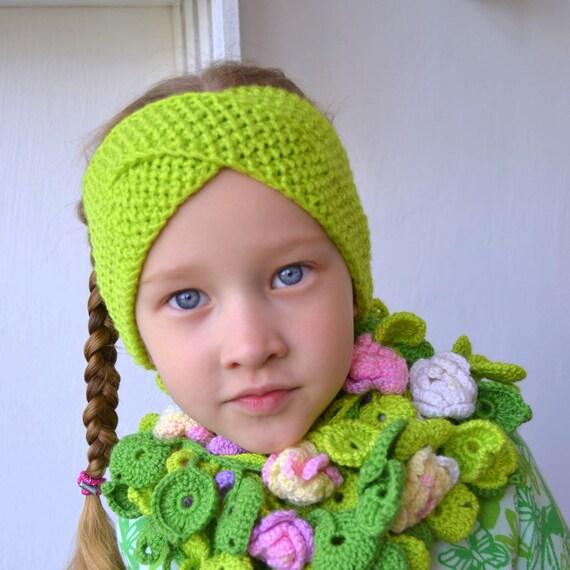 25072c8892c0 Bandeau vert knitt pour fille bébé bandeau tricot turban   Etsy