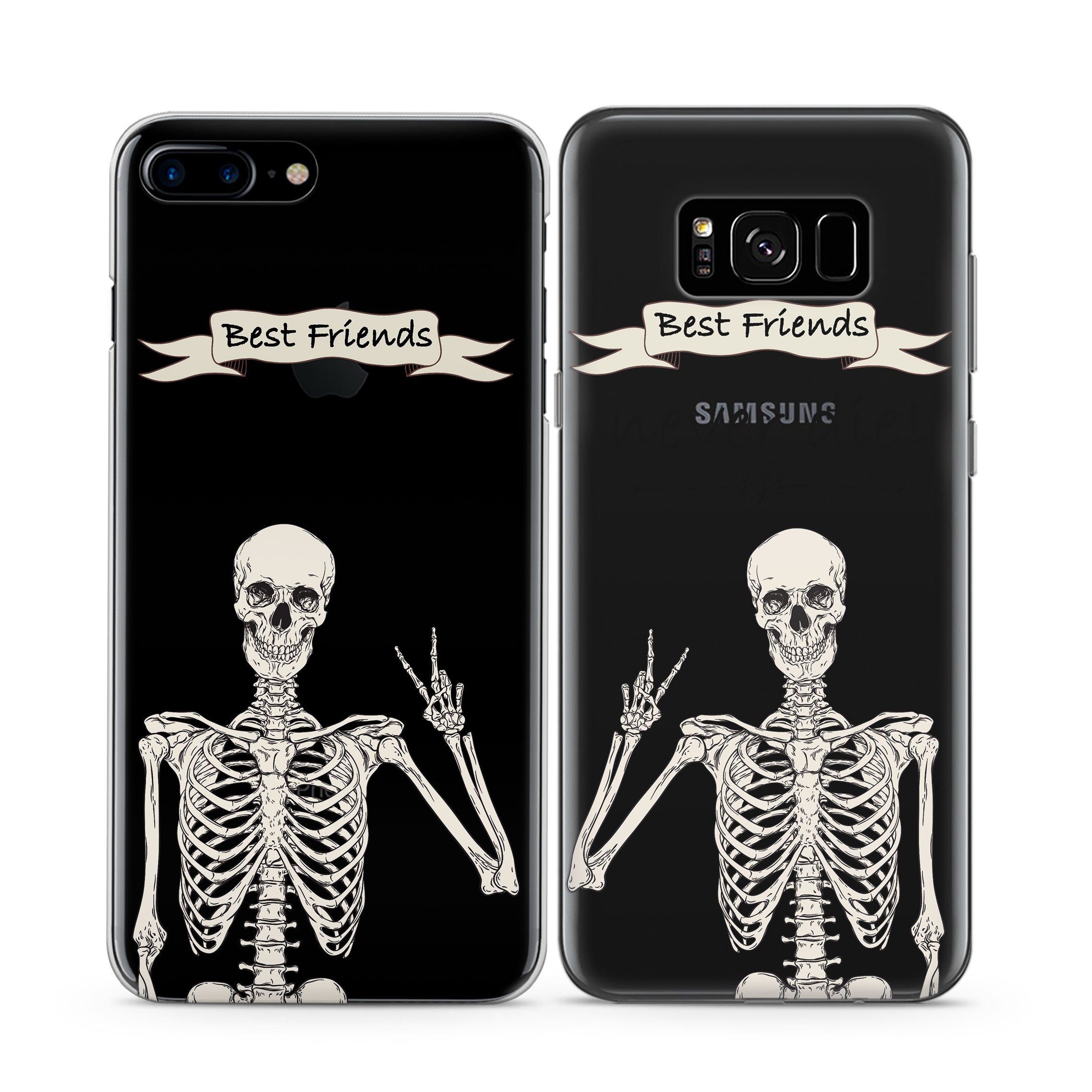 check out 36c6a fed6f Best Friend Case iPhones 7 Plus Case Skeleton Art iPhone 8 Clear Case  iPhone XR Case Cover iPhone 5S Apple iPhone 6S Case SE 10 XS Max 5 X 6