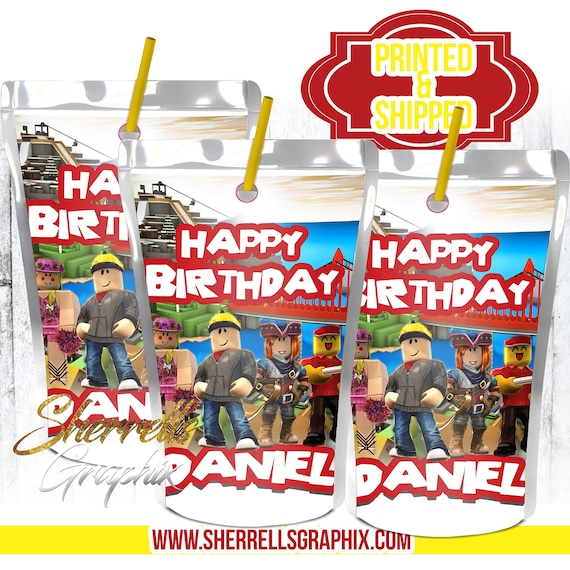 Roblox Theme Birthday Personalized Juice Labels Printed And Etsy