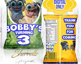 Puppy Dog Pals Theme Birthday Personalized Favor Bag -Candy Bag-Chip Bag- Party Bag-Popcorn Bag