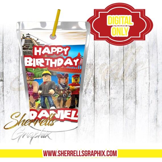 Roblox Theme Birthday Personalized Juice Label Juice Juice Etsy