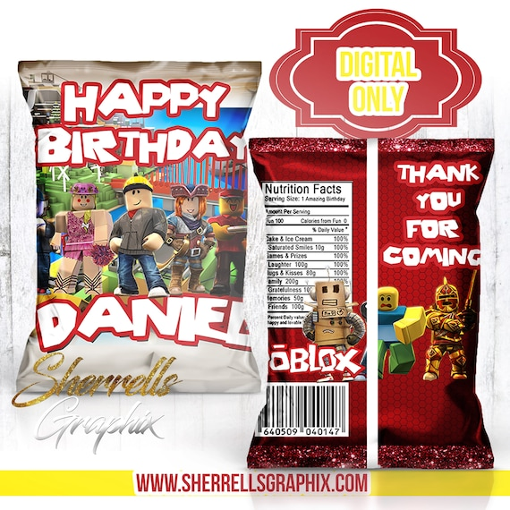 Roblox Theme Birthday Personalized Favor Bag Candy Bag Chip Etsy