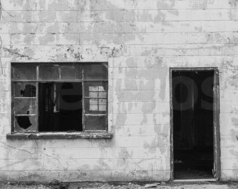 Abandoned building, digital download, printable, black and white photography, architecture