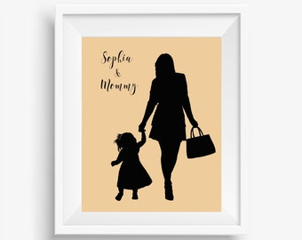 Silhouette Portrait, Custom Silhouette Illustration, Family Portrait, Mother Daughter Gift, Drawn from Your Photo, Personalised Gift for Mom