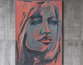 Contemporary Colorful Feminist wall art Girl power print Female Abstract Face Print of Woman