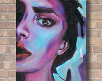 Colorful Feminist Woman Wall Art Girl Power Portrait Painting Print