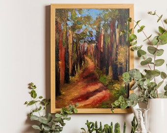 Nature oil painting Forest painting Original art forest Pine tree canvas Red green wall art Orange green painting Modern oil on canvas