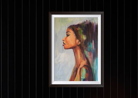 Afrocentric art African American woman portrait limited edition canvas Black woman artwork original painting print Afro wall decor